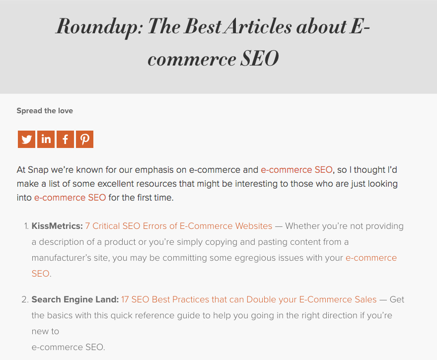 ecommerce link roundups