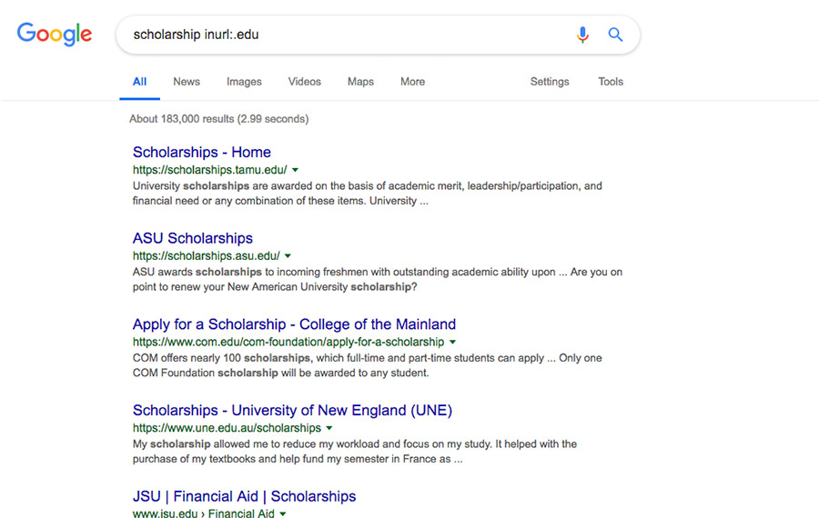 scholarship link building usa.