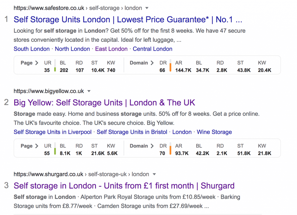 self storage in london on page seo