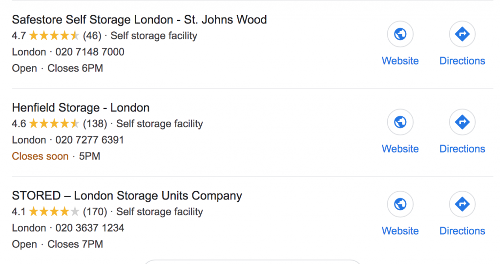 gmb reviews for self storage companies